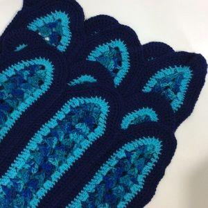Handmade Navy Teal Crochet Knit Baby Afghan